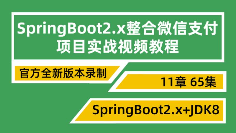 19年正版SpringBoot2.x高级项目实战微信支付实战视频教程微服务