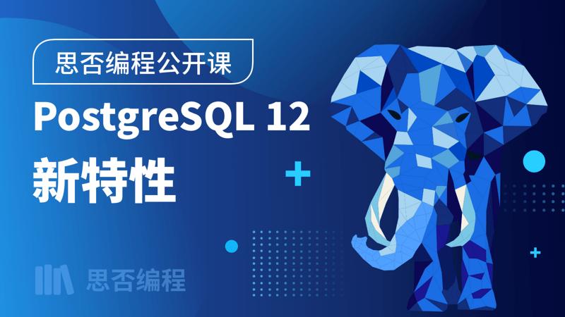 【思否编程公开课】 PostgreSQL 12 新特性